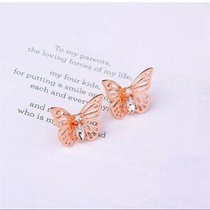 Gold Butterfly Crystal Earrings